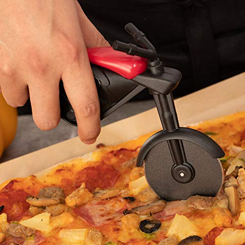 Motorcycle Pizza Cutter, Pizza Slicer Cutter Wheel with Stainless Steel Blade Funny Pizza Gifts with Display Stand