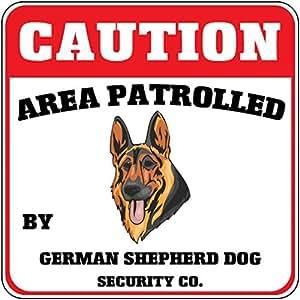 Precaución área patrullada pastor alemán Perro Perro seguridad cruce decoración del hogar signo cartel de metal para exterior Patio señal de seguridad