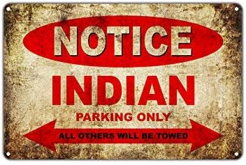 Indian Motorcycles Bikes Only all Other Will Be Towed Segno di parcheggio Vintage Retro Metallo Art Shop Man Cave Bar Alluminio 25,4 x 35,6 cm