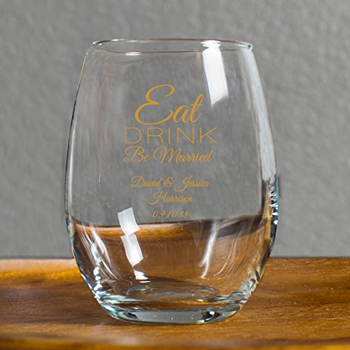 Personalized Eat Drink Be Married 9 Ounce Wine Glass, 24 Count Custom Printed in Gold, Bride to Be Wedding Reception Surprise