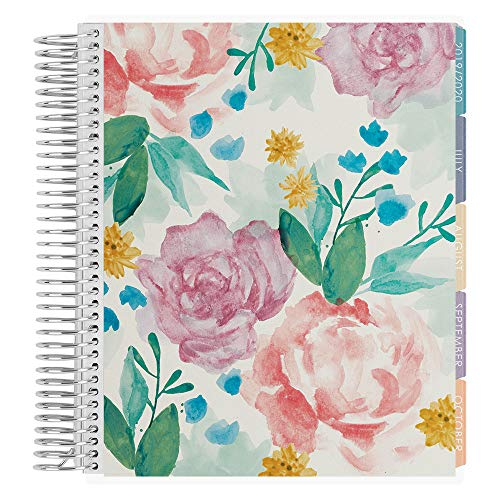 Erin Condren 18 - Month 2019-2020 Coiled Life Planner 7x9 (July 2019 - December 2020) - Watercolor Blooms, Vertical (Colorful Layout). Organizer with Monthly Calendar Tabs