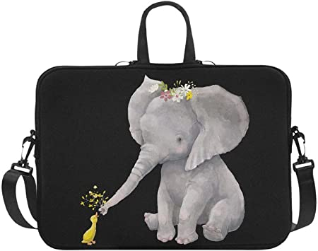 INTERESTPRINT Laptop Protective Carrying Bag Cute Elephant Playing with Water Notebook Sleeve Pouch Case Bag 15.4 Inch 15.6 Inch