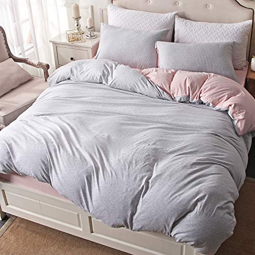 PURE ERA Duvet Cover Set Jersey Knit Cotton Super Soft Breathable Pinstripes Grey Pink Reversible Queen Size