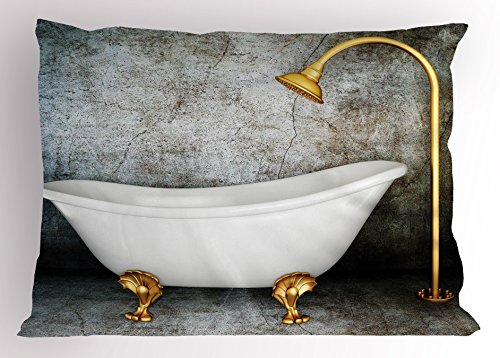 Lunarable Retro Pillow Sham, Vintage Bathtub in Room with Grunge Wall Lifestyle Resting Spa Theme Art, Decorative Standard Size Printed Pillowcase, 26 X 20 inches, Grey White Earth Yellow by Lunarable (Image #2)
