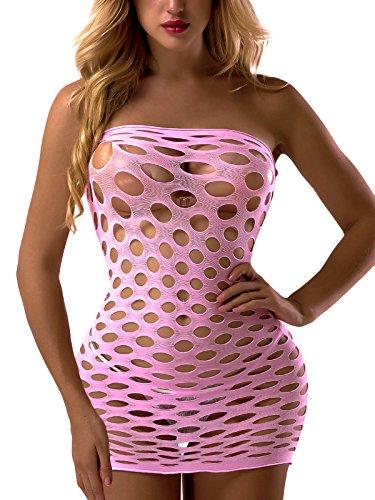 FasiCat Women's Strapless Chemise Babydoll Fishnet Lingerie Mini-Dress One Size Pink]()