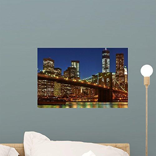 Wallmonkeys WM360004 Brooklyn Bridge with Lower Manhattan Skyline at Night Peel and Stick Wall Decals (18 in W x 12 in H), Small (Silhouette Manhattan Bridge)