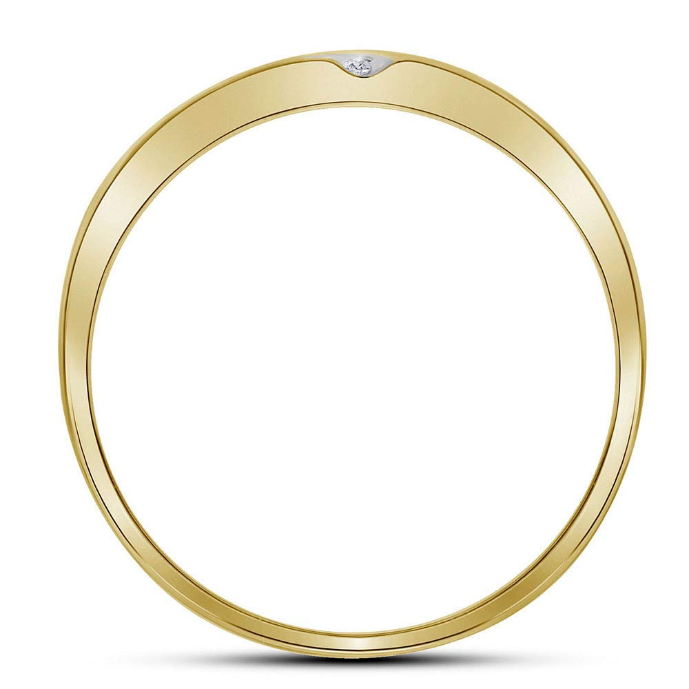 Jewel Tie Solid 10k Yellow Gold Mens Round Diamond Double Row Slender Wedding Band 1//8 Cttw.