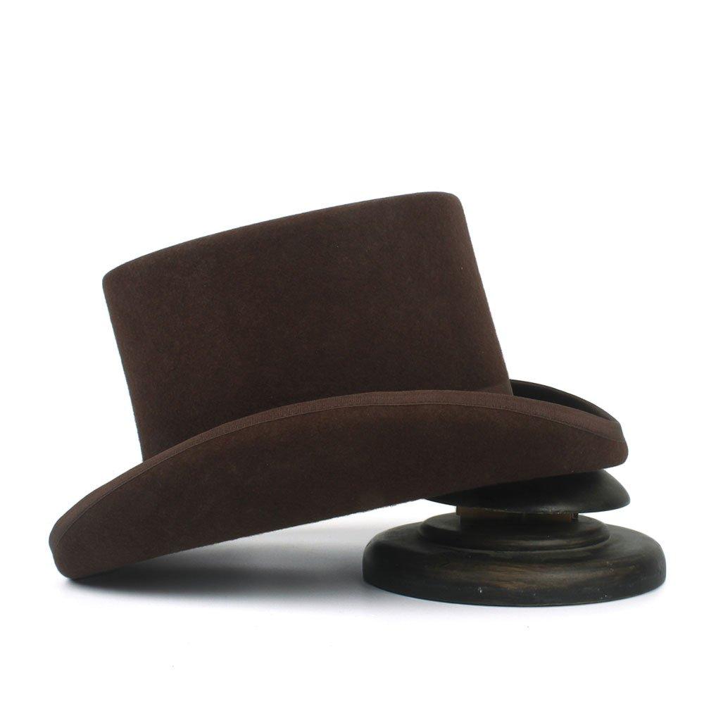 ZLQ 13.5cm Top Hat for Women Men Wool Fedora Magician Party Church Hats 4Size S M L XL Top Hat 5.3inch