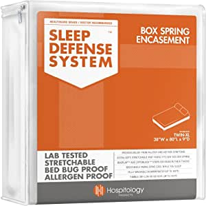 The Original Sleep Defense System - PREMIUM Zippered Bed Bug & Dust Mite Proof Box Spring Encasement & Hypoallergenic Protector - 38-Inch by 80-Inch, Twin XL