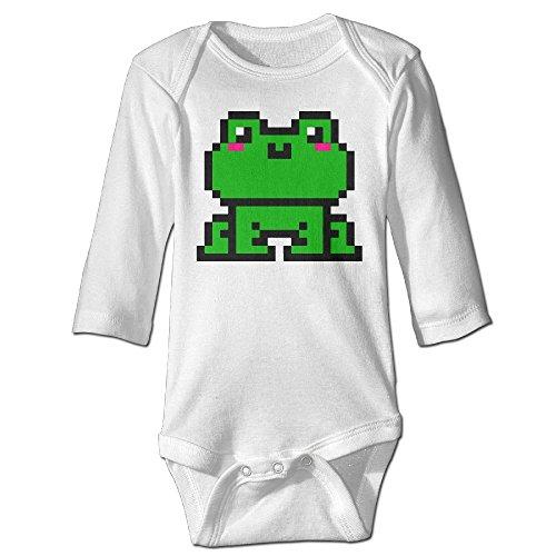 Fashion Baby Boys & Girls Kawaii Frog Pixel Art Long-sleeve Playsuit