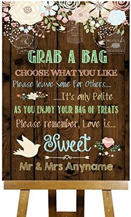 Personalised Sweet Table Cart Candy Bar Wedding Sign A4 Kraft Card Rustic