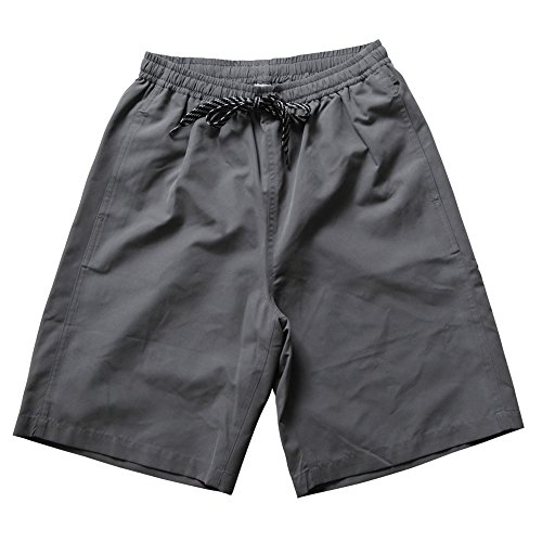 SAFS Men's Solid Color Quality Swim Trunks Charcoal Gray 32-34