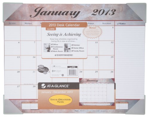 AT-A-GLANCE Visual Organizer Recycled Marbled Desk Pad, 22 x 17 Inches, Marbled, 2013 (Mead Desk Organizer)