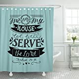 Breezat Shower Curtain Hand Lettering Me and My House We Will Serve the Lord Biblical Christian Scripture Modern Calligraphy Waterproof Polyester Fabric 60 x 72 Inches Set with Hooks