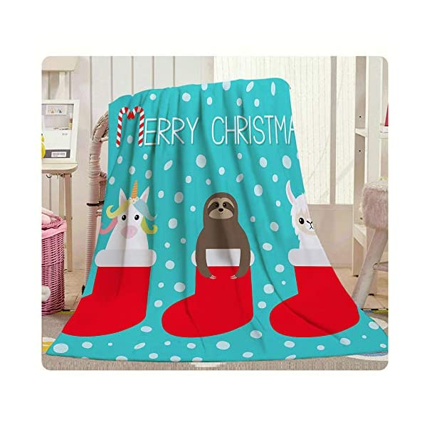Hgod Designs Christmas Throw Blanket,Cute Cartoon Funny Kawaii Llama Alpaca Sloth Unicorn In Red Sock Soft Warm Decorative Throw Blanket For Baby Toddler Or Pets Cat Dog 30&Quot;X40&Quot; -