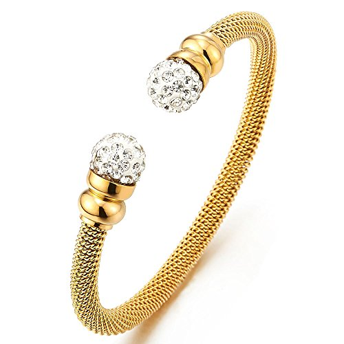 Elastic Adjustable Ladies Women Gold Color Steel Cuff Bangle Bracelet with White Cubic Zirconia Ball