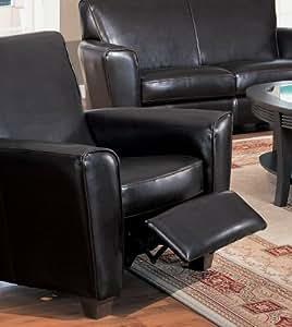 Coaster Havana Retro Style Leather Sofa Club Chair Recliner, Brown