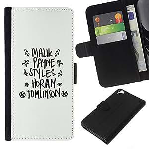 KLONGSHOP // Tirón de la caja Cartera de cuero con ranuras para tarjetas - blanco dios negro de texto la moda abstracto - HTC Desire 820 //
