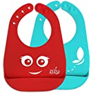 Waterproof Silicone Baby Bibs with Adjustable Snaps - FREE Temperature Spoon - Bib Easily Wipes Clean - Fun Unisex - Burp & Drooling Clothes - Perfect Gift for Babies & Toddlers - BPA Free & FDA