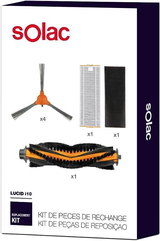 Solac AA3402 - Set de repuestos para Robot Aspirador Lucid i10 con 4 cepillos Laterales, 1 Cepillo Central ...