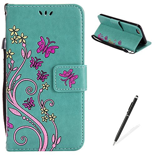 Ballet Embossed Wallet - iPhone 6 Plus/6S Plus Case,MAGQI Premium Slim Fit Flip PU Leather Stand Wallet Book Style Case with Card Slots Magnetic Closure Embossed Rose Flower Butterfly Pattern Cover - Green
