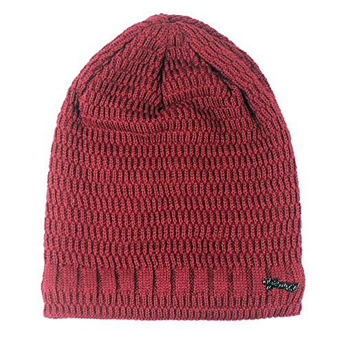 (Mens Ladies Knitted Woolly Softex Oversized Slouch Beanie Hat Cap,Women's Skiing Clothing,Red,One Size)