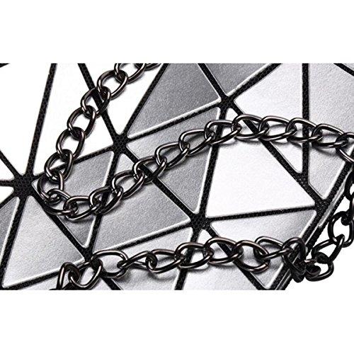 Handbag Ladies Geometric Rhombus Shoulder Fashion Silver Bag Fashion Ladies qtrIxFHw1t