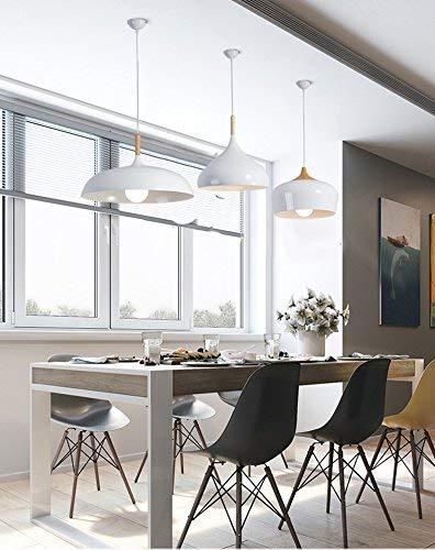 L/ámpara Iluminaci/ón colgante moderna nordica Rosca E27 para el Restaurante Dormitorio Sala de Estudio Loft Pasillo 45 cm di/ámetro color blanco con detalle en madera 45155