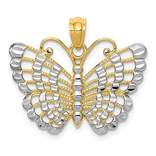 14k White Gold Butterfly Pendant - Jewel Tie 14K Rhodium Plated Yellow Gold Diamond-Cut Butterfly Pendant - (0.79 in x 1.1 in)
