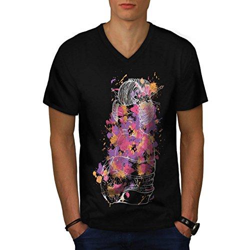 geisha-model-asia-oriental-men-new-m-v-neck-t-shirt-wellcoda