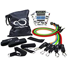 Exercise Resistance Band Set With Handles- Professional Grade 11 Piece Stackable Exercise Resistance Bands With Door Anchor, 2 Ankle Straps & Zip Top Bag- Includes Online Workout Guides