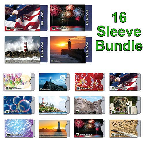 16 RFID Blocking Sleeves in Fun New Designs! (12 Credit Card Holders & 4 Passport Protectors) Ultimate Premium Identity Theft Protection Sleeve Set for Men & Women.