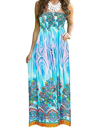 Aofur Womens Maxi Boho Floral Summer Beach Long Skirt Evening Cocktail Party Dress New (X-Large, Green)