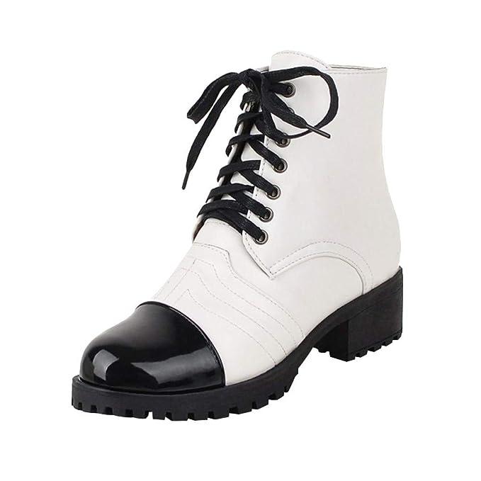 Malloom Zapatos de Mujer Botines Mujer Martín Botas Zapatos de Mujer Tacones Altos Señoras Otoño Invierno Calentar Zapatos de Invierno Brillantes para Mujer ...