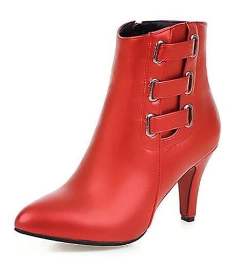 Easemax Damen Hübsch Spitze Zehe Blockabsatz High Heels Kurzschaft Stiefel Rot 35 EU 2t9Gv