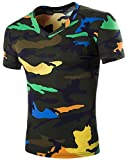 What Lees Mens Colorful Camouflage Workout gym muscle fitness Sports T shirt B049-green-L