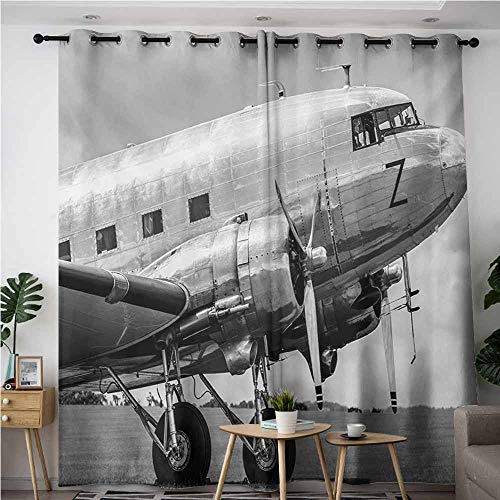 (Indoor/Outdoor Curtains,Vintage Airplane,Old Airliner Cockpit Antique Engine Propellers Wings and Nostalgia Image,Room Darkening, Noise Reducing,W84x72L,Grey Black)