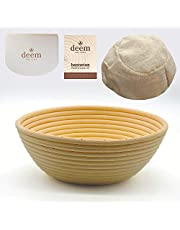 4 in 1 Set 9 Inch Round Banneton Proofing Basket for Artisan Bread with Linen Liners, Bowl Scraper - Cutter and Sourdough Starter Recipe and Sourdough Bread Recipe
