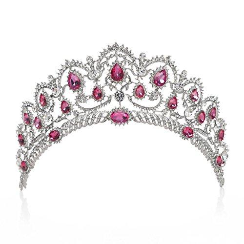 SWEETV Vintage Crystal Crown for Women Rhinestone Queen Tiara Bridal Hair Accessories