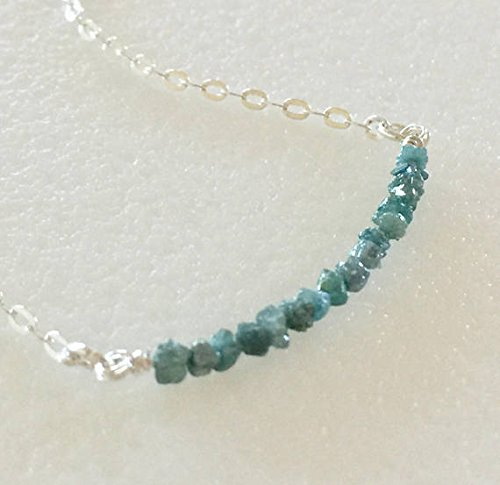 JP_Beads Blue Diamond Bar Necklace, Tiny Teal Blue Genuine Diamonds, Raw Diamond Nuggets, April Birthstone, Minimalist Necklace, Sterling Silver Plated2 to 2.5 mm 16