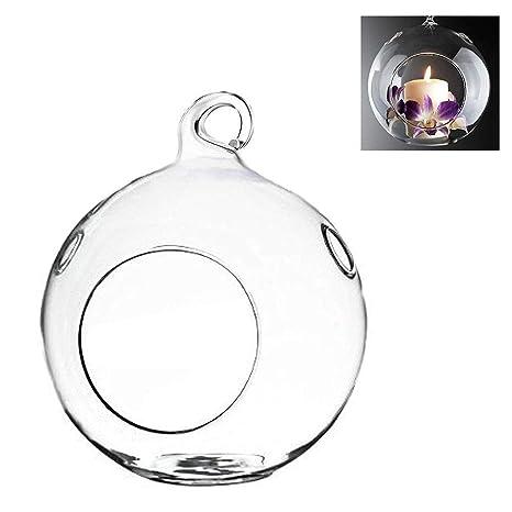 AOLVO - Portavelas Colgante de Cristal con Forma de Globo de Cristal, para decoración de