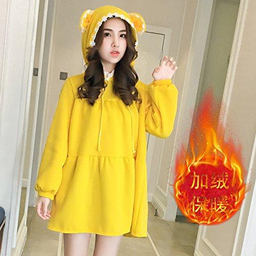 ZHUDJ Con _ Estudiantes Quienes Visten El Cashmere Engrosada Largo Invierno Vestido Niñas Sueltas Con Gruesos yellow
