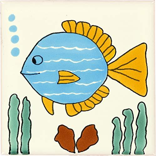 - Tierra y Fuego Box of 9-4¼ x 4¼ Turquoise Fish - Talavera Mexican Ceramic Tiles