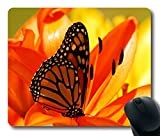 Custom Gaming Mouse Pad with Butterfly Flower Inside Shadow Non-Slip Neoprene Rubber Standard Size 9 Inch(220mm) X 7 Inch(180mm) X 1/8(3mm) Desktop Mousepad Laptop Mousepads Comfortable Computer Mouse Mat