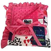 Baby Girls Reversible Minky Velboa Stroller Blanket (Choose Color) (Safari / ...