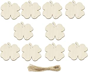 Amosfun Wooden Four-leaf Clover Ornaments St. Patricks Day DIY Wood Arts and Crafts Shamrock Wooden Hanging Adornments Party Favors Decorations 20PCS