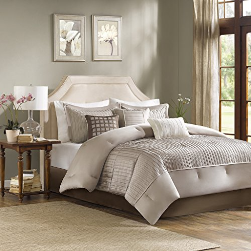 Madison Park Trinity King Size Bed Comforter Set Bed In A Bag - Taupe, Pieced – 7 Pieces Bedding Sets – Ultra Soft Microfiber Bedroom Comforters