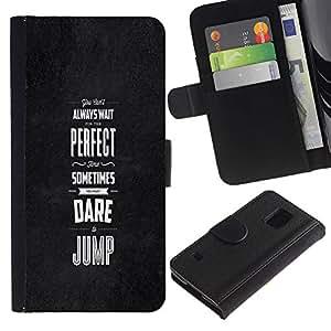 KingStore / Leather Etui en cuir / Samsung Galaxy S5 V SM-G900 / Dare Saltar inspiradora motivación Negro