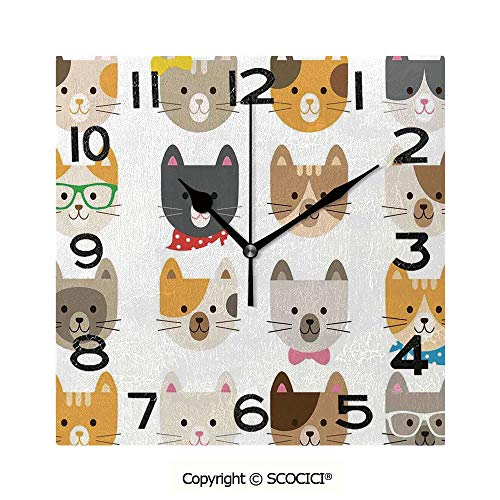 SCOCICI 8 inch Square Clock Cats Costume with Glasses Bow Tie Bandanna Cartoon Art Craft Pattern Print Pets Animal Lovers Print Decorative Unique Wall Clock-for Living Room, Bedroom or Kitchen Use]()