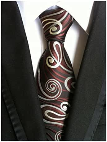 MENDENG Classic Paisley Brown Black Red JACQUARD WOVEN Silk Men's Tie Necktie